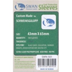 Sleeves:  43x65mm Swan PanAsia Mini Chimera (100 per pack)